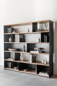 """78""""W + 16""""D + 72""""H OAK + INDUSTRIAL STEEL POLY + OIL FINISH //CUSTOMIZE THIS PIECE This Bookcase is Custom Made in Los Angeles. Industrial metal frame is weld"""