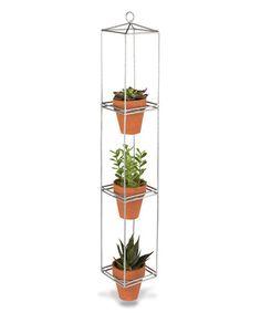 Look at this #zulilyfind! Galvanized Metal Three-Tier Hanging Planter #zulilyfinds
