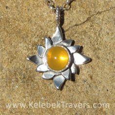 Sunflower Fire Opal Pendant