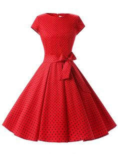 1950s 50s Costumes- Poodle Skirts, Grease, Monroe, Pin up, I Love Lucy Dressystar Women Vintage 1950s Retro Rockabilly Prom Dresses Cap-sleeve $27.69 AT vintagedancer.com