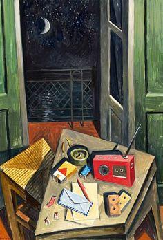 .:. Σάμιος Παύλος – Pavlos Samios [1948] Lonely night Mediterranean Art, Greek Paintings, Local Color, 10 Picture, Greek Art, Fresco, 3d Printing, Mosaic, Folk