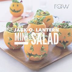 Jack-O-Lantern Mini Salad Make a spooky statement at your next Halloween party with these healthy vegan and gluten free mini jack-o-lantern salads! They make the perfect hors d'oeuvres or side dish! Yum! Ingredients  8 large, thick-skinned oranges 3 tablespoons red wine vinegar 2 tablespoons maple syrup 2 teaspoons grainy mustard 1/2 teaspoon fresh lemon juice 1/4 teaspoon ground ginger Freshly ground black pepper, to taste 1/4 teaspoon salt 1/4 cup olive oil 1 (5 oz.) bag baby mixed…