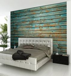 Washed Timber Wall Mural Wallpaper Mural 118 x House Paint Interior, Cafe Interior, Best Interior Design, Interior Doors, Luxury Interior, Contemporary Interior, Bedroom Wall, Bedroom Decor, Bedroom Colors