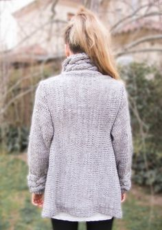 hand knit cardigan RIONA M coat warm grey cowl neck by ovejanegra