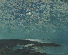 """""""Moonlight,"""" Childe Hassam, 1892, oil on canvas, 18 x 22 1/2"""", private collection."""
