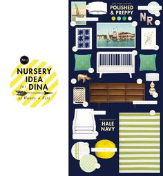 Lay Baby Lay: Polished Preppy: A Modern Nautical Nursery; I love every detail in this mock up. The huge painting would be gorgeous above the crib or the credenza where the white frame would unite the brown wood to the rest of the room. Heck, I'd love this for myself!