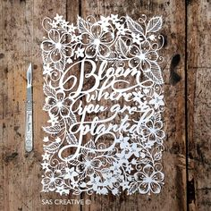 Papercut Template PDF 'Bloom where you are planted' Printable Cut Your Own Papercut by Samantha's Papercuts