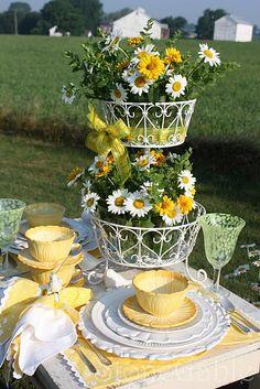 Garden Party - especially love the centerpiece of daisies