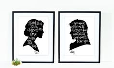 Jane Austen Facing Cameos Print Set - Jane Austen and Mr. Darcy Quote Calligraphy Silhouette Cameo Print
