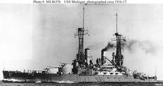 USS Michigan - together with her sister South Carolina, the first American dreadnoughts. Uss Oklahoma, Us Battleships, Military Post, Arms Race, Us Navy Ships, Man Of War, Naval Academy, Naval History, Big Guns