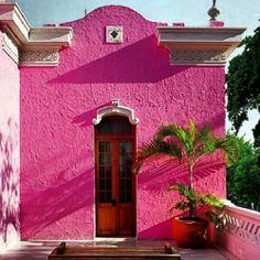 #Ineedavacation #mexico #fuchsia #pinkwall #architecture #exteriors #colonial #doors #yesplease