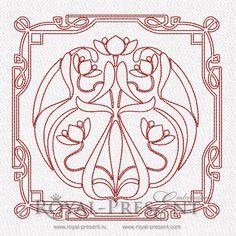 Machine Embroidery Design - Art Nouveau Quilt Block #2, $1.99