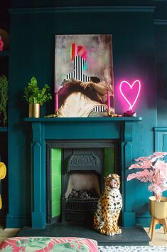 Eclectic living room inspiration. Teal walls paired with colourful art and quirky accessories. #DiyCraftsForRoomDecor Colourful Living Room, Eclectic Living Room, Eclectic Decor, Living Room Designs, Living Room Decor, Bedroom Decor, Colourful Art, Quirky Decor, Quirky Living Room Ideas
