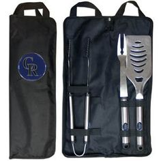 MLB Colorado Rockies Stainless Steel BBQ Set with Bag by Siskiyou. $29.99. Our MLB stainless steel 3 pc BBQ tool set includes a large spatula with built in bottle opener, heavy duty tongs, and large fork. All the tools feature a team logo on the handle. The set comes with a durable canvas bag that has a chrome accented team logo.