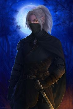 f Half Elf Rogue Thief Royal Courier Leather Armor Cloak Sword female Night full moon Mixed forest Trail by Oxanta DeviantArt lg Elf Characters, Dungeons And Dragons Characters, Fantasy Characters, Rogue Character, Character Art, Fantasy Male, Dark Fantasy Art, Fantasy Character Design, Character Inspiration
