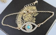 Evil Eye Charm Bracelet Gold Turquoise Rhinestone Fashion Jewelry