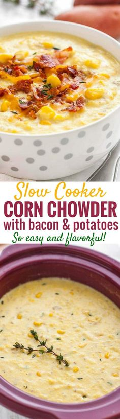 Slow Cooker Corn Chowder is so easy to make and takes just a few minutes of prep! A creamy and flavorful potato corn chowder made in the Crockpot that Slow Cooker Corn Chowder, Potato Corn Chowder, Chowder Soup, Chowder Recipes, Slow Cooker Soup, Slow Cooker Recipes, Crockpot Recipes, Soup Recipes, Cooking Recipes