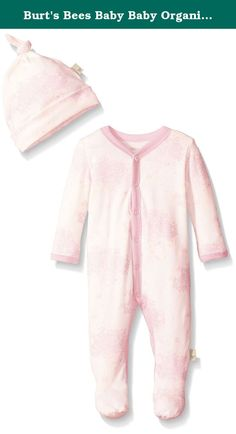 Burt's Bees Baby Baby Organic Toile Snap-Front Coverall and Hat Set, Cherry Blossom, 6-9 Months. This comfy coverall is perfect for an adventurous day! the toile print and footed feature make it easy to crawl comfortably in style. Throw on the matching knot top hat for a head to toe look.