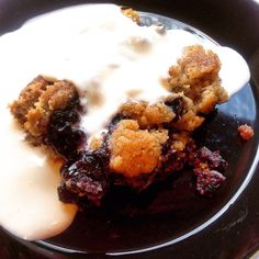 Traditional blueberry and rye dessert with vanilla sauce