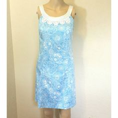 Loft Blue & White Shift Dress Loft Baby Blue & White Sleevless Shift Dress. Satin neckline detail. Fully line. Size zip. EUC.  No Trade or PP  Offers Considered  Bundle discounts LOFT Dresses