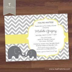 Baby Shower Invitation - Little Elephant - Mod - Chevron - Yellow - Boy, Girl, Twins, Gender Neutral (DIY Digital Printable)