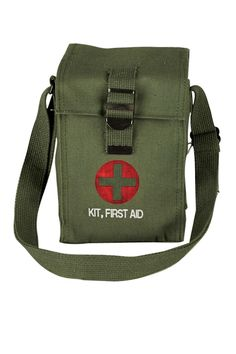 "Heavy Canvas First Aid Bag. Use as a shoulder bag or use to carry your first aid items. 5"" x 5.5"" x 9"" Bag with adjustable canvas shoulder strap.  First Aid Bag by Copper Creek Mercantile. Bags - Shoulder & Hobo Oregon"