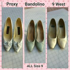 """3 pair bundle:  Proxy, Bandolino, 9 West (VINTAGE) Price includes all 3 pair of VINTAGE heels, size 9M.  Man-made material. Good condition, but small flaws: 1. Proxy white pair (3 1/2"""" heel) has small areas on bows where white color flaked off. 2. Bandolino green Italian pair (3"""" heel) has a small blemish on the back of 1 heel. 3. Nine West creme pair (3"""" heel) has a bit of scuffing on the tips of each toe. Note 3 different brands.  They were worn with care & have lots of miles left on them…"""
