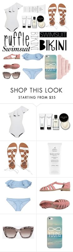 """#ruffledswimwear"" by maeaballroomprincess ❤ liked on Polyvore featuring Lisa Marie Fernandez, Bobbi Brown Cosmetics, Billabong, Rêve D'un Jour, Valentino, Casetify, Hamam and ruffledswimwear"