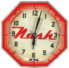 Nash neon clock, mfgd by Neon Products Inc