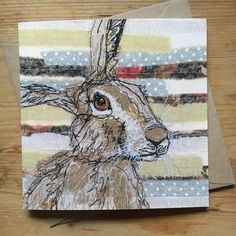 Printed Embroidery Hare Card by Francesca Kemp Art on Etsy