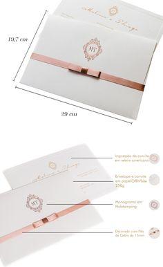 MELINA - Convite de Casamento - Linha Soft - 29 x 19,7 cm  - Linha Soft. Você encontra aqui na loja Convites de Casamento Personalizados | Loja Online Papel e Estilo.