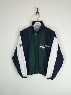 Reebok Shell Suit Jacket Green/White Small