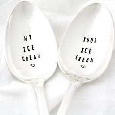 My and Your Ice Cream, hand stamped spoons by Milk and Honey Luxuries