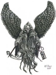 reaper with wings tattoos