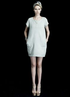 SWEET DRESS in structured cotton knit (Pewter, Lilac).   Pullover with button up front and side pockets.   Slightly tapered at the hem and cut to flatter. Wear as a dress or a tunic over any of this seasons pants or leggings.  Structured Cotton Knit Flattering Dress or Tunic Made in NYC  http://www.hengstnyc.com/collections/hengst/products/sweet-dress-1