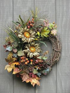 Fall Wreath  Sunflower Wreath  Front Door by SimpleJoysofLife, $83.50