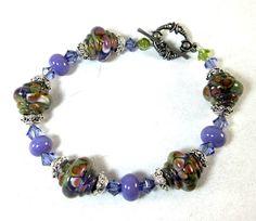 Purple Lampwork Bracelet, Beaded Bracelet, Beadwork  Bracelet, Gifts for Her, Women's Jewelry, Beaded Jewelry