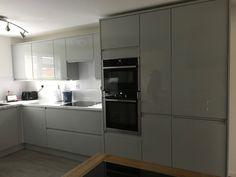 Grey Kitchen Cupboards, Corner Kitchen Pantry, Slate Kitchen, Kitchen Larder, Kitchen Cupboard Doors, Grey Kitchens, Kitchen Units, Kitchen Ideas, Kitchen Inspiration