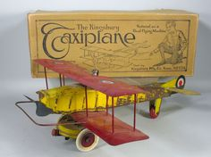1927 Kingsbury Tin Taxiplane Airplane in the Box with the Orginal Pilot Working
