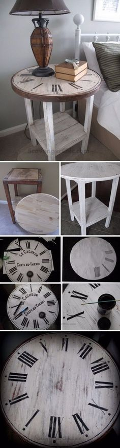 DIY Vintage Clock Table: Make this vintage clock table with some flea market fin. DIY Vintage Clock Table: Make this vintage clock table with some flea market finds! Easy and budget friendly to do and Diy Furniture Hacks, Repurposed Furniture, Furniture Projects, Painted Furniture, Diy Projects, Furniture Plans, Bedroom Furniture, Furniture Vintage, Refurbished Furniture
