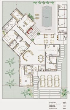 Houses Project: House project of 200 m² .- House Design: 200 m² Single Family Home Design - Dream House Plans, Modern House Plans, House Floor Plans, Home Design Floor Plans, Plan Design, Bungalow House Design, Modern House Design, Villa Plan, Welcome To My House