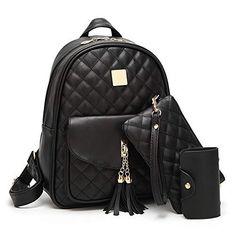 5c36cdf9bdcc0 Beylasita Damen Tasche Set PU Daypack Rucksack Backpack für Reise Outdoor  Sport Schwarz - EUR 19.99