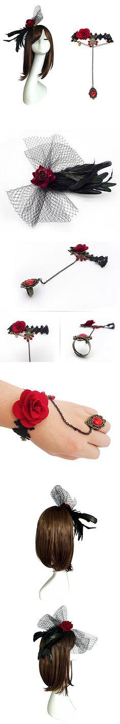 L'vow Natural Feather Crow Veil Hair Clip Bracelet Set for Halloween (Style D)
