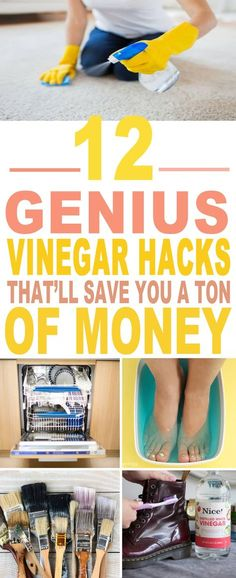 These are the BEST vinegar hacks I've ever seen. These uses of vinegar and vinegar tips have helped me a lot already. Pinning for sure!!