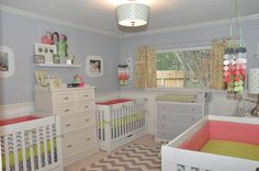 Gorgeous triplet girls nursery - love the gray, lime green and coral color scheme! #nurserydecor #sharedroom