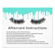 lash aftercare Lashes Makeup Artist Modern Teal Drips Aftercare Flyer -Ad- I am in love with these cards! Available in our shop! Eyelash Curler, Eyelash Extensions, Microblading Aftercare, Natural Makeup For Brown Eyes, Lash Room, Referral Cards, Waterproof Mascara, Makeup Remover, Eye Makeup