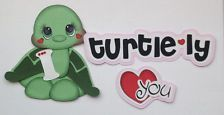 VALENTINE I TURTLELY LOVE YOU TITLE AND TURTLE PAPER PIECING MY TEAR BEARS