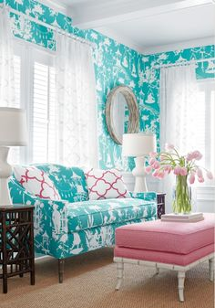[CasaGiardino] ♡ love this toile silhouette.House of Turquoise: Thibaut House Of Turquoise, Turquoise Sofa, Turquoise Fabric, Aqua Blue, Living Room Designs, Living Room Decor, Living Spaces, Living Area, Living Rooms