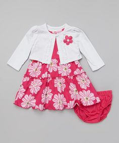 Look at this #zulilyfind! Dark Pink Floral Ruffle Dress Set - Infant & Toddler #zulilyfinds
