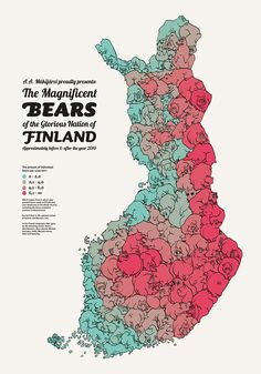 """makijarvi: """" A. Mäkijärvi proudly presents: The Magnificent Bears of the Glorious Nation of Finland Approximately before & after the year An infographic map of all the bears in Finland. Finland Map, Creative Infographic, Map Design, Data Visualization, Illustration, Nostalgia, Finnish Language, National Animal, Posters"""